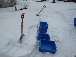 このコンテナに雪を詰めて雪のブロックをつくりました